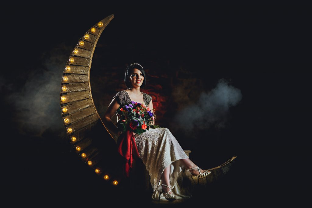 Moon prop available to hire through Nadia Di Tullio Flowers