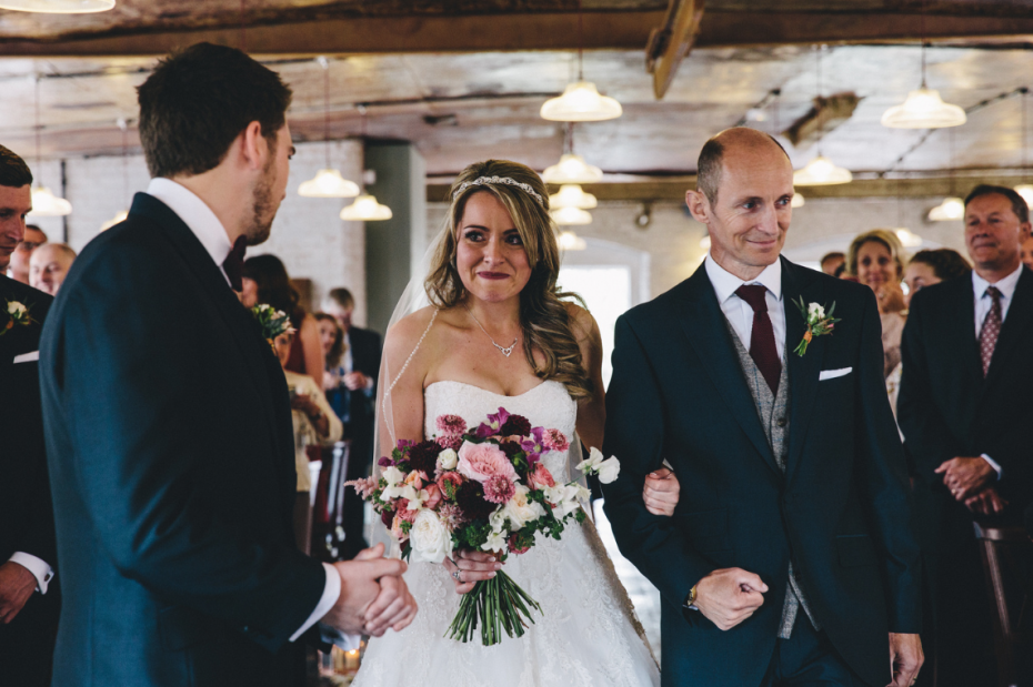 Gemma and Peter at The West Mill venue Nadia Di Tullio Flowers