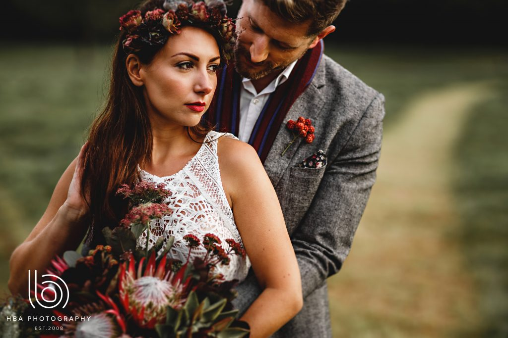Stunning autumn light with bride and groom