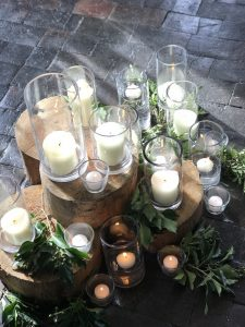 Cylinders with church candle prop hire