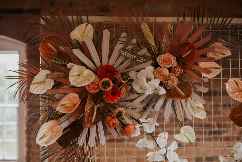 Anthurium and rose directional wedding at West Mill